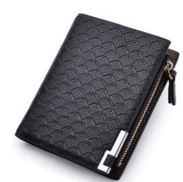 Wholesale Wholesale Mens Leather Wallets - New Multifunction Man Wallets 3 Colors Mens PU Leather Zipper Business Wallet Card Holder Pocket Purse Hot Plaid Pounch Fashion