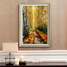 Wholesale Knife Painting Canvas - 100% Hand painted oil painting modern home decoration fall style canvas mural high quality color palette thick oil knife painting JL042
