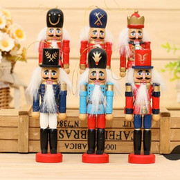 Wholesale Coloured Drawing - Wholesale-D313 Free shipping 12cm Nutcracker, Wood made Christmas Ornaments, pure manual coloured drawing Walnuts soldiers 12 pcs lot