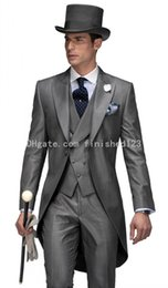 Wholesale Double Breasted Vest Tuxedo - Double Breasted Gray Tailcoat Groom Tuxedos Peak Lapel Groomsmen Best Man Mens Wedding Suits (Jacket+Pants+Vest+Tie) G552