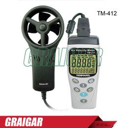 Wholesale Industrial Hygrometer - TENMARS TM-412 Air Velocity Meter Airspeed Anemoscope Anemometer WITH 45mm 4 plastics vane and High sensitivity of 0.4m s tm-411