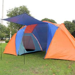 Tienda de lona de la familia online-Al por mayor-Venta caliente 5 Persona Familia Camping Dome Tent Lienzo Swag Senderismo Playa 2 Habitaciones Family Outdoor Camping Tent Beach