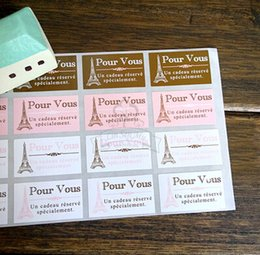 Wholesale Sticker Towers - Free shipping four color Paris tower decoration gift wrapping sticker decorative stickers dessert bag box sealing paster pasters
