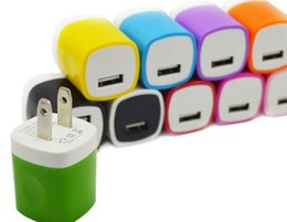 Wholesale Travel Adaptor Usb - Colorful Universal Mini USB Home AC Power Adapter Travel Charger US Plug Wall Charger Adaptor Charging For iPhone  iPad  iPod  Samsung