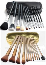 2019 set di spazzole in oro nero HOT trucco pennelli 12 pezzi pennello trucco professionale set Kit + omaggio nero o oro pacchetto 1 SET set di spazzole in oro nero economici