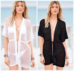 Wholesale Women Sheer Bikinis - Sexy Hot Women Sheer Crochet Stripes Lace Bikini Coverup Mini Dress Black White Hollow Out Wrap Dresses Smooth Boho Beachwear Dress 847