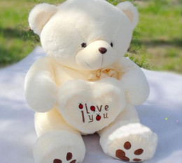 Wholesale Valentine Bears For Sale - 1pc 50cm Giant Big Plush Teddy Bear Valentines Day I Love You Big Teddy Bears For Sale Birthday Gift Girlfriend Souvenir