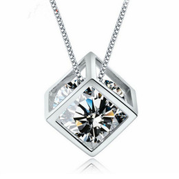 Wholesale Sterling Silver 925 Cube Wholesale - Women Necklaces Fashion Jewelry 925 Sterling Silver Love Magic Cube Sparkle Cubic Zirconia Crystal Pendant Necklace 18inch Box Chain