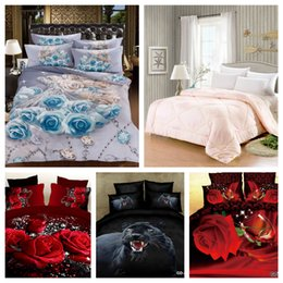 Wholesale Luxury Red Comforters - Wholesale-100% Cotton Luxury 3D bedding sets Wedding Blue Floral comforter set Red Rose Quit Set Bed in a bag king Family Set 2m Bed