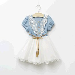 Wholesale Gauze Clothing Wholesale - 2017 Summer Girls Denim Dress Baby Tutu Dress Kids Princess Dresses Lace And Gauze Hem With Belt Children Clothing Casual Dresses 5pcs lot