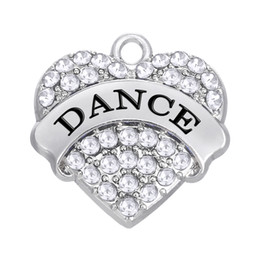Wholesale price for love - Factory Price Rhodium Plated Fashion Rhinestone Plated Heart Pendant Text DANCE Charms For DIY Jewelry