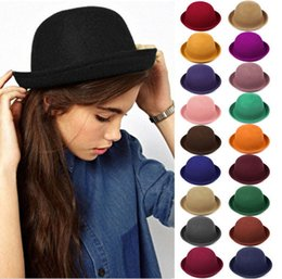 Wholesale Cute Christmas Hats - Hot Sale !! Vintage Women Lady Cute Trendy Wool Felt Bowler Derby Fedora Hat Cap Hats Caps 19 Colors