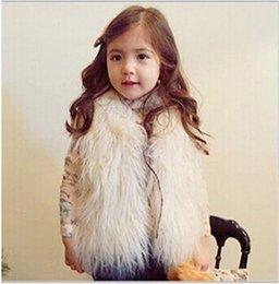 Wholesale Girls Black Fur Vest - New Baby Girls Long Hair plush faux Sheep fur Warm Vest coat clothing Autumn Winter wear Clothes baby Children Waistcoat jacket CF01
