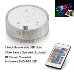 Wholesale Decorative Batteries - Submersible led light (12pcs Lot) Remote controlled Battery operated RGB multi-colors light for table vases wedding decoration