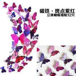 Wholesale Three Dimensional Butterfly Fridge Magnets - 10pcs Butterfly 3D stereoscopic three-dimensional wall stickers wall stickers living room closet fridge magnet simulation painting home acce