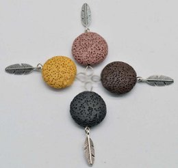 Wholesale Colour Necklace - Coloured 20 mm Round Lava-rock Feather Pendant Aromatherapy Essential Oil Diffuser DIY Necklace Bracelet Earrings Charms Accessories
