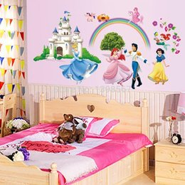 Cartoon Snow White Cinderella And Prince Little Mermaid Fairy Tale DIY Wall  Sticker Mural Decal Decorative JIA194 From Dropshipping Suppliers