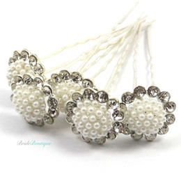 Wholesale Diamond Hairpin Hair Clip - Bridal Wedding Vintage Style Silver Diamante & Pearl Flower Hair Pins Clips Flower White Pearl Rhinestone Crystal Hairpins Hair Accessory
