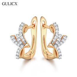 Wholesale Brazilian Jewelry - Wholesale- GULICX Brand Brazilian Mesh Hoop Earring for Women Gold-color Hoop Earing Crystal CZ Zircon Party Jewelry E254