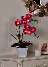 2019 luzes de orquídea Frete Grátis Led Blossom Orchid Flower Light 9pcs Warmled Com 2 Aa Battery Pot 9 Flor Flores De Orquídea Com Buds Decoração De Casa luzes de orquídea barato
