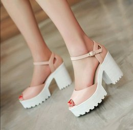 Wholesale Sexy Platform Shoes For Sale - Drop Shipping Thick High Heels Platform Summer Dress Shoes candy colors For Women Sexy Casual Peep Toe Sandal Hot Sale szie:34-43