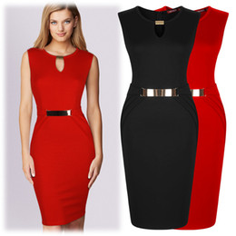 Wholesale Dresses Belted Tunics - Free shipping Celeb Ladies Tunic Stretch Pencil Bodycon Sexy Waist Belt Club Evening Formal Cocktail Party Knee Dresses Pencil Dress 3033