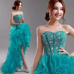 Wholesale High Low Prom Dress Cascade - Real Image Teal Sexy High Low Prom Dresses Sweetheart Backless Cascading Ruffles Crystal Custom Made Formal Pageant Gowns Wedding Dresses