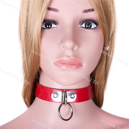 Wholesale Slave Collared Women Metal - Faux leather & metal Neck restraint cuff Slave collar and leash fetish bondage product Adult Sex Game Toy for women men Couples