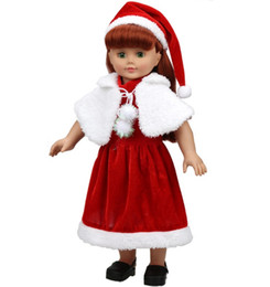 Wholesale American Girl Dolls Clothes - Christmas Winter Skirt Clothing set for American Girl 18 Inches Height Doll Xmas Dress up Hat and Skirt Sweater Red Color