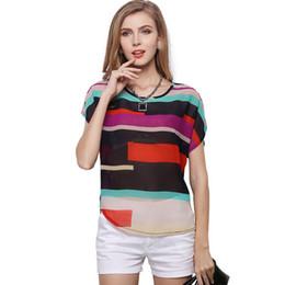 Wholesale Strip Blouse - 2015 New Arrival Shirt Women Blouses Style Fashion Leisure Round Neck Sleeve Splicing Asymmetrical Strip Shirt