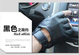 Wholesale Black Fingerless Biker Gloves - Wholesale-Men Black Leather Fingerless Motorcycle Biker Driving Glove Free Shipping