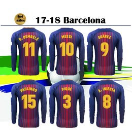 Wholesale Soccer Jersey Customized Yellow - Long Sleeve #10 MESSI home Soccer Jersey 17 18 #11 O.DEMBELE home red blue Soccer Shirt Customized SUAREZ club team Football uniform