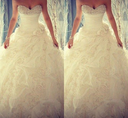 Wholesale Handmade Flower Wedding - 2015 Spring Beaded Crystals Wedding Dresses Flouncing Ruffles Handmade Flower Organza Wedding Gowns Sweetheart Ball Gown Elegant Bridal Gown