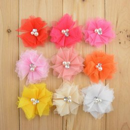 Wholesale Tulle Flower Rhinestone Center - 90pcs lot 2 inches Mini Tulle Mesh Flowers With Rhinestone Pearl Center Poof Flower headband Accessories 18 color for choose