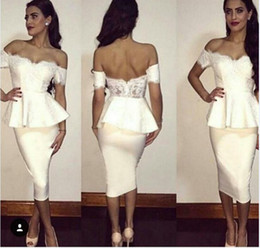 Wholesale open back white cocktail dresses - 2016 Tea Length Cocktail Dresses Short White Off Shoulder Short Sleeves Lace Open Back Party Gowns Sheath Arabic Dress Custom Made