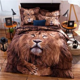 Wholesale Lion King Bedding - Wholesale-New Product 3D Oil Painting Lion King Mens Bedding Set Queen Size,Cotton Fabric Bed Sheet Pillowcase Quilt Cover Animals Print