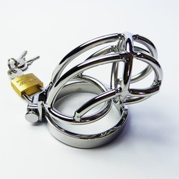 Wholesale Sex Strap Ons - Male Chastity Smaller Stainless Steel Chastity Belt Cock Lock Chastity Cage Top Quality Metal Strap Ons Sex Products For Men Chastity Device