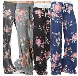 Wholesale Womens Summer Wear - yoga pants ladies floral palazzo trousers womens summer wide leg pants plus size Leisure wear