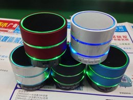 Wholesale Beatbox Bluetooth Speakers - NEW S09 3 LED Light Ring Enhanced speaker Super Bass Metal Mini Portable BeatBox Hi-Fi Bluetooth Handfree Mic Stereo Speakers free shipping