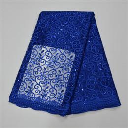 Nouveau Designs Tissu Africain en Voile de Dentelle avec Paillettes, Tissu de Voile de Dentelle Africain bleu royal 5 mètres / lot pour une Robe de Soirée Elégante ? partir de fabricateur
