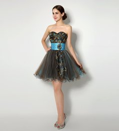 Wholesale Peacock Beaded Dress - Peacock Embroidery Short Cocktail Dresses With Sweetheart Neckline Crystals Beaded Pleats Ruffles Mini Club Party Dress Cheap In Stock