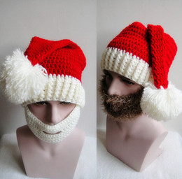 Wholesale Funky Red - Christmas Knitted Hat Crochet Outfits Santa Claus Hats Wizard Cap Funky Hand Made Beanies Hats Accessories