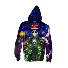 Wholesale Mens Christmas Hoodie - Mens Sweatshirt men fashion long Sleeve hoodies tracksuit Nightmare Before Christmas skeleton jacket ton Male autumn winter