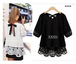 Wholesale Ladies Lace Blouses - Spring summer 2016 women ladies blouse plus size white black back bowtie hollow out loose chiffon blouse 4XL 5XL