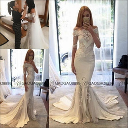 Wholesale Gold Couture Wedding Dress - Steven Khalil 2016 Berta pallas couture Spring Collection Off-shoulder Mermaid Wedding Dresses with Long Sleeves Arabic Cheap Wedding Gown