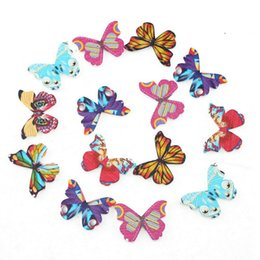 Wholesale Butterfly Sew - 30PCs Wood Sewing Buttons Butterfly unique Scrapbooking Mixed 3.4cm x1.8cm 111777