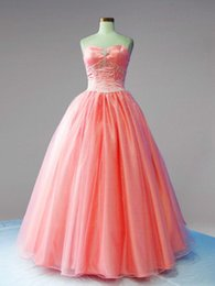 Wholesale Sweetheart Ball Gown Organza Corset - Coral Organza Cheap Ball Gown Sweet 16 Quinceanera Dresses 2015 New Real Image Sweetheart Corset Sequins Organza Long Pageant Gowns