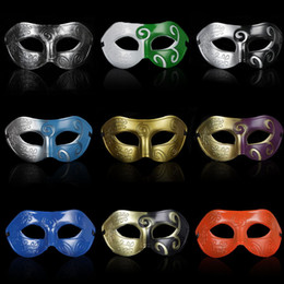 Wholesale Venetian Mask Colors - 20pcs Retro Jazz Man Masks Venetian Masquerade Half Face Masks Halloween Christmas Party Ball Mix Colors
