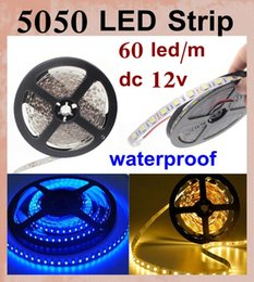 Wholesale Controller Chip - Waterproof Strips led strips light IP65 5M led chip SMD 5050 RGB Lights Led Strips 60 leds M fit rgb remote controller led strip light DT014
