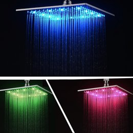 Wholesale contemporary bath lighting - Hot selling LED Lighted Bath Shower Sprinkler Sprayer High Grade Brass Chrome Finish Rainful Shower Head Showerhead